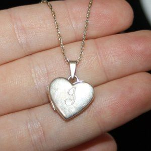 Vintage sterling silver J Sweet 16 locket necklace